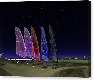 Canvas Print featuring the digital art Coloured Sails by Susanne Baumann
