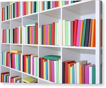 Colourful Books On A Bookcase Canvas Print by Wladimir Bulgar