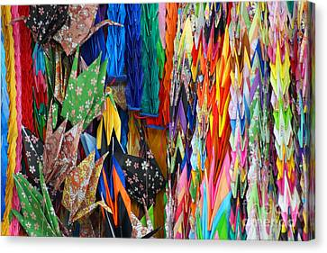 Canvas Print featuring the photograph Colourful Cranes by Cassandra Buckley