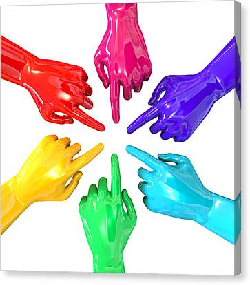 Colourful Hands Circle Pointing Inward Canvas Print by Allan Swart