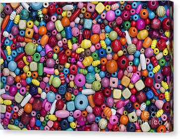 Colourful Wooden Beads Canvas Print by Tim Gainey