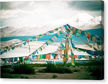 Colourfull Praying Buddhist Flags Lungta  Canvas Print by Raimond Klavins