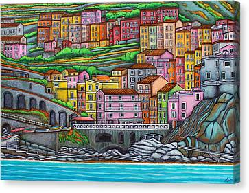 Colours Of Manarola Canvas Print by Lisa  Lorenz
