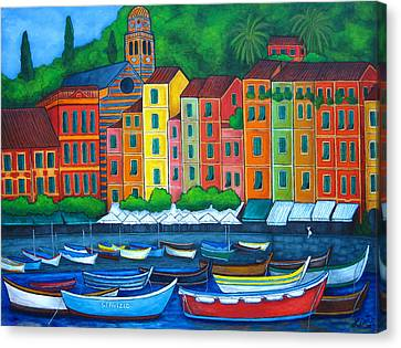 Portofino Italy Canvas Print - Colours Of Portofino by Lisa  Lorenz