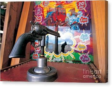 Colt Gun In Antiques Shop Canvas Print by Adam Sylvester