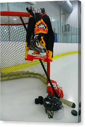 Helmets Canvas Print - Columbia Inferno Away Hockey Jersey by Lisa Wooten