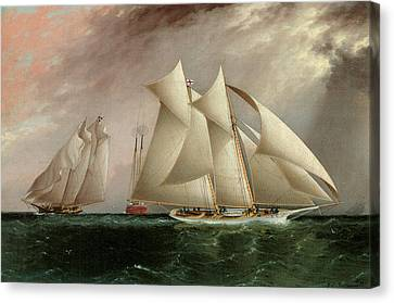 Columbia Leading Dauntless In The Hurricane Cup Race Canvas Print by James E Buttersworth