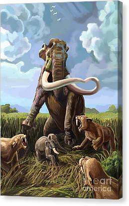 Columbian Mammoth And Saber-toothed Cats Canvas Print by Spencer Sutton