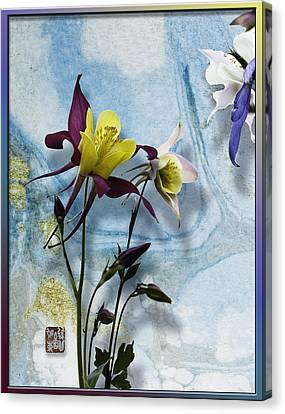 Columbine Blossom With Suminagashi Ink Canvas Print by Peter v Quenter