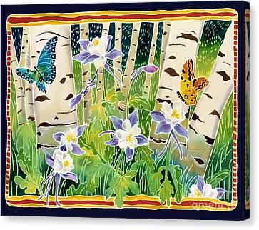Batik Canvas Print - Columbine In The Aspen by Harriet Peck Taylor