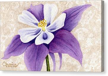 Columbine In Violet Canvas Print by Vikki Wicks