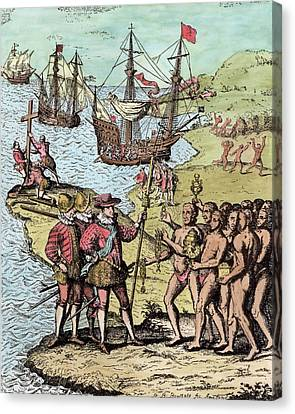 Columbus At Hispaniola, From The Narrative And Critical History Of America, Edited By Justin Canvas Print by Theodore de Bry