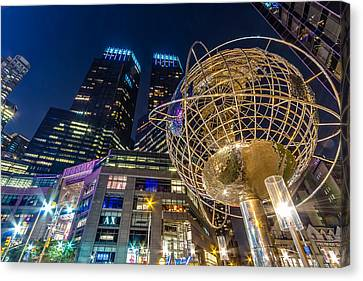 Columbus Circle Globe And Time Warner Towers At Night Canvas Print by Val Black Russian Tourchin