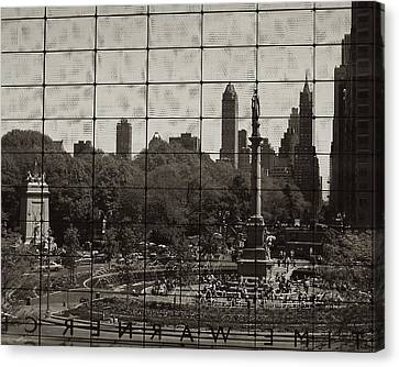 Columbus Circle Through The Time Warner Glass Window Canvas Print by John Colley