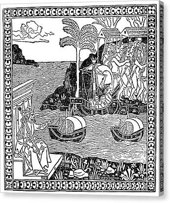 Columbus In New World Canvas Print