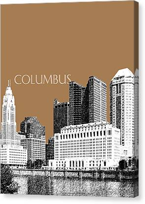 Columbus Skyline - Brown Canvas Print by DB Artist