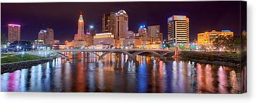 Evening Scenes Canvas Print - Columbus Skyline At Night Color Panorama Ohio by Jon Holiday