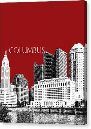 Columbus Skyline - Dark Red Canvas Print by DB Artist