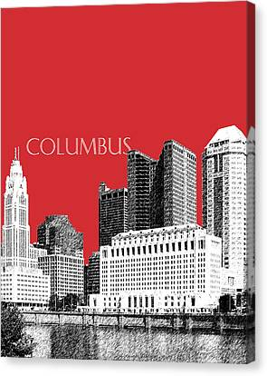 Columbus Skyline - Red Canvas Print by DB Artist