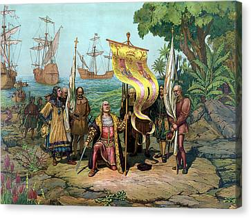 Columbus Taking Possession Of The New Country Canvas Print by War Is Hell Store