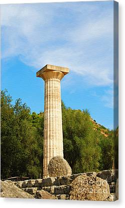 Column At The Temple Of Hera Olympia Greece Canvas Print