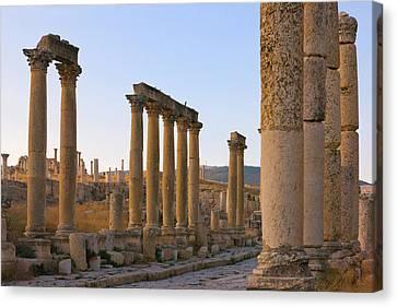 Column Street In Ancient Jerash Ruins Canvas Print