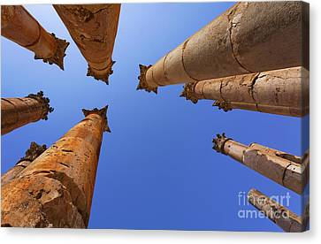 Columns At The Temple Of Artemis In Jerash Canvas Print