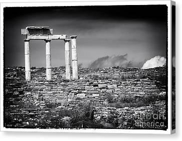 Ancient Greek Ruins Canvas Print - Columns Of History On Delos Island by John Rizzuto