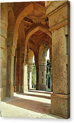 Columns On Tomb Of Mohammed Shah / Canvas Print by Adam Jones