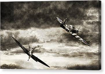 Combat Spitfires Canvas Print by Peter Chilelli