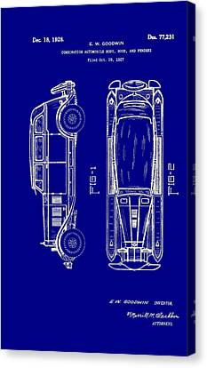Old Car Canvas Print - Combination Automobile Body Hood And Fenders Patent 1928 by Mountain Dreams