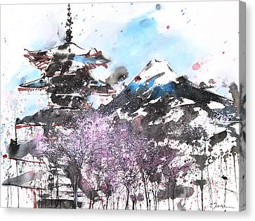 Millbury Canvas Print - Combination No.32 Spring Time Mt.fuji And Pagoda by Sumiyo Toribe