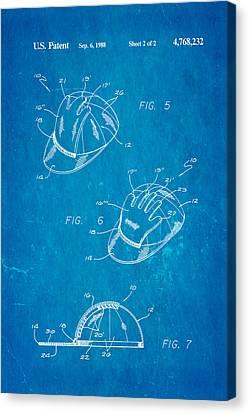 Combined Baseball Glove Cap Patent Art 1988 Blueprint Canvas Print