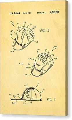 Combined Baseball Glove Cap Patent Art 1988 Canvas Print