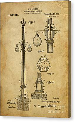 Lamp Post Canvas Print - Combined Pole And Lamp Post - 1914 by Pablo Franchi