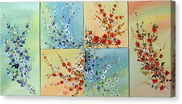 Canvas Print featuring the painting Combo Flowers by Dorothy Maier