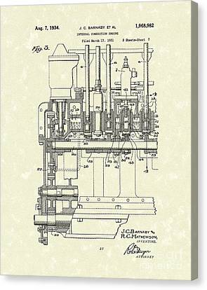 Combustion Engine 1934 Patent Art Canvas Print by Prior Art Design