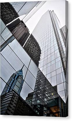 Comcast Center With Liberty Place Reflection Canvas Print by Bill Cannon