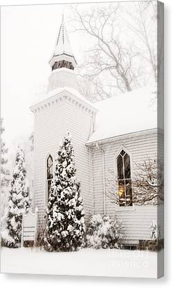 Canvas Print featuring the photograph White Christmas In Maryland Usa by Vizual Studio