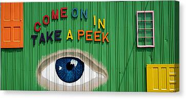 Come On In Take A Peek Canvas Print