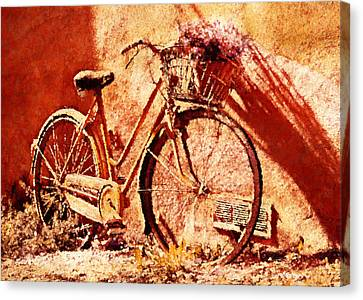 Bicycle With Flowers Canvas Print - Come Ride With Me - Vintage Art by Georgiana Romanovna