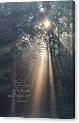 Bible Verse Canvas Print - Come To Me by Lori Deiter