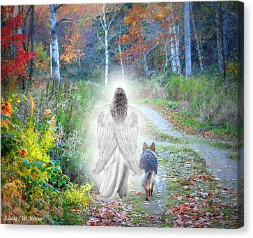 German Shepherd Canvas Print - Come Walk With Me by Sue Long