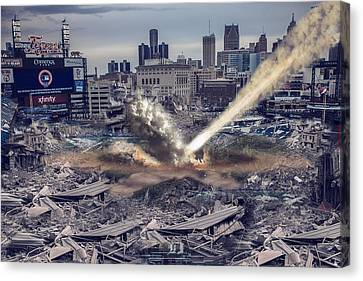 Canvas Print featuring the photograph Comerica Park Asteroid by Nicholas  Grunas