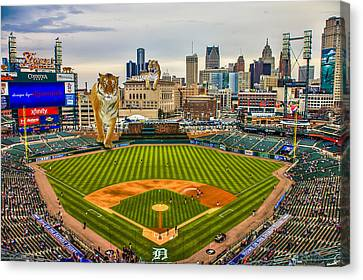 Canvas Print featuring the photograph Comerica Park Detroit Mi With The Tigers by Nicholas  Grunas