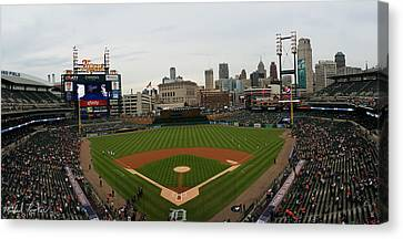 Comerica Park - Detroit Tigers Canvas Print by Michael Rucker