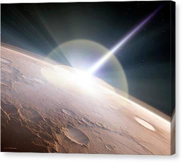 Comet Colliding With Mars Canvas Print