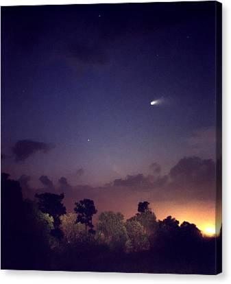 Comet Hale-bopp. Lake Cypress. Canvas Print by Chris  Kusik
