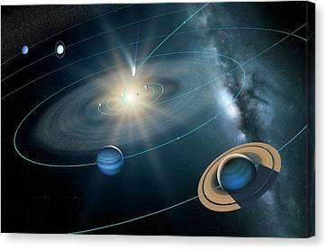 21st Century Canvas Print - Comet Ison's Orbit by Detlev Van Ravenswaay
