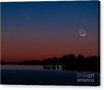 Comet Panstarrs And Crescent Moon Canvas Print by Charles Hite